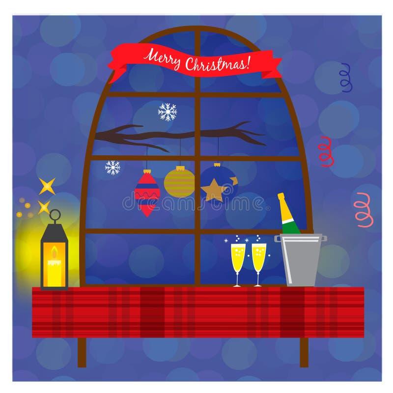 Bożenarodzeniowa ilustracja z okno, szampańską butelką i szkłami na stole, ilustracji