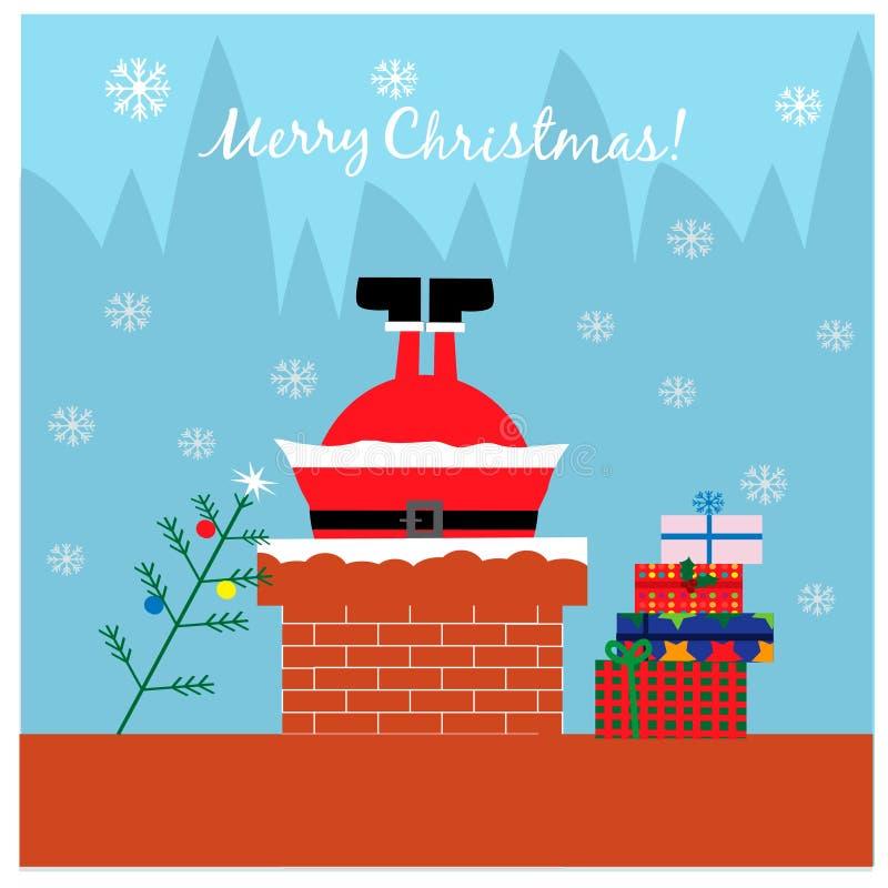 Bożenarodzeniowa ilustracja z Santa w kominie ilustracji