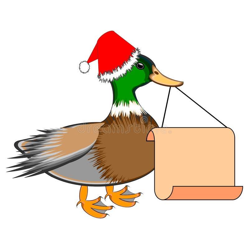 Bożenarodzeniowa kaczka z dużym pustym papierem w jego bea ilustracja wektor