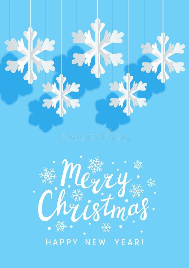 Bożenarodzeniowa kartka z pozdrowieniami z papierowymi płatek śniegu na błękitnym tle dla Twój wakacyjnego projekta ilustracji