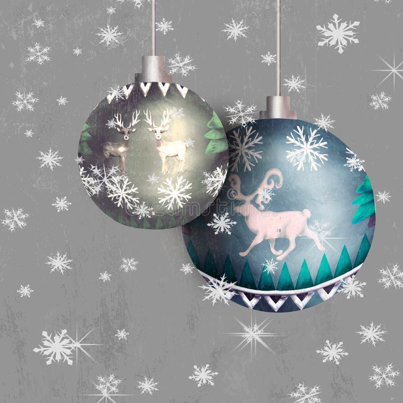 Bożenarodzeniowa kartka z pozdrowieniami z sosna ornamentu wzoru 3D sfery piłki zabawką ilustracja wektor