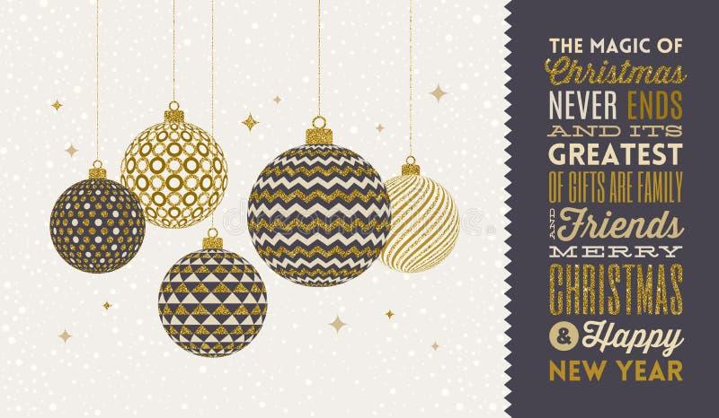 Bożenarodzeniowa kartka z pozdrowieniami - wzorzyści złoci baubles na śnieżnego bielu typie i tle projektują powitanie royalty ilustracja