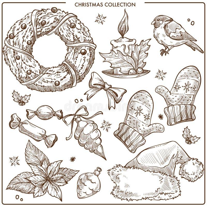 Bożenarodzeniowa kolekcja symbolicznych tradycyjnych elementów nakreślenia konturu monochromatyczny wektor ilustracji