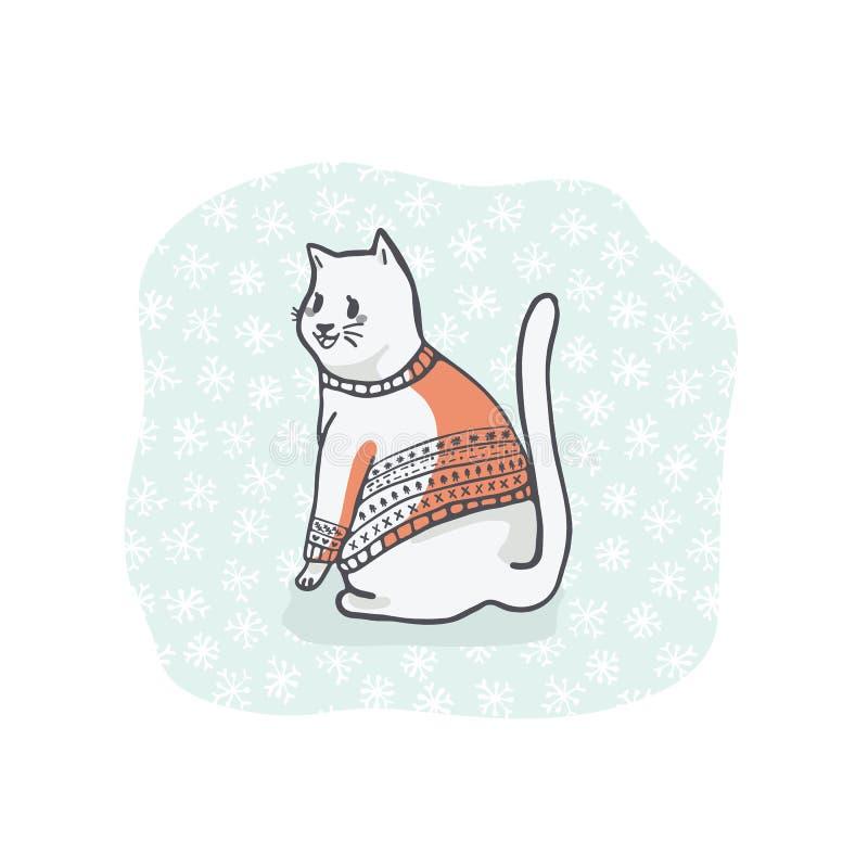 Bożenarodzeniowa kotów powitań karta Clipart, ręka Rysujący kota kochanek w broderii ilustracja wektor