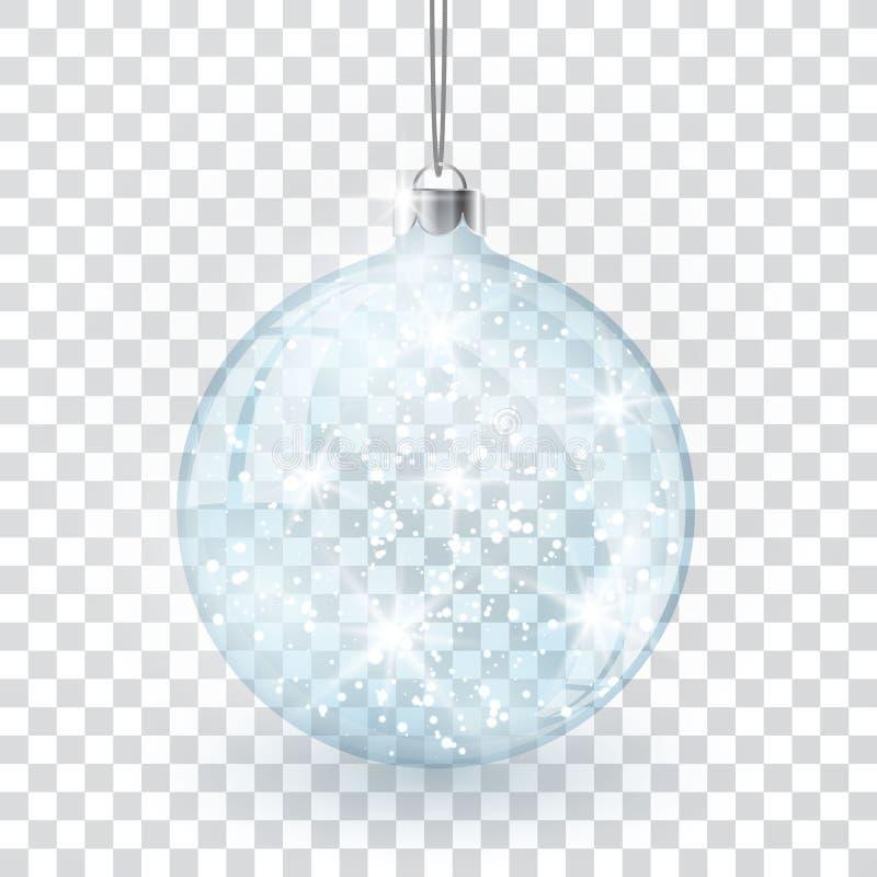 Bożenarodzeniowa krystaliczna szklana piłka na przejrzystym wektorowym tle royalty ilustracja