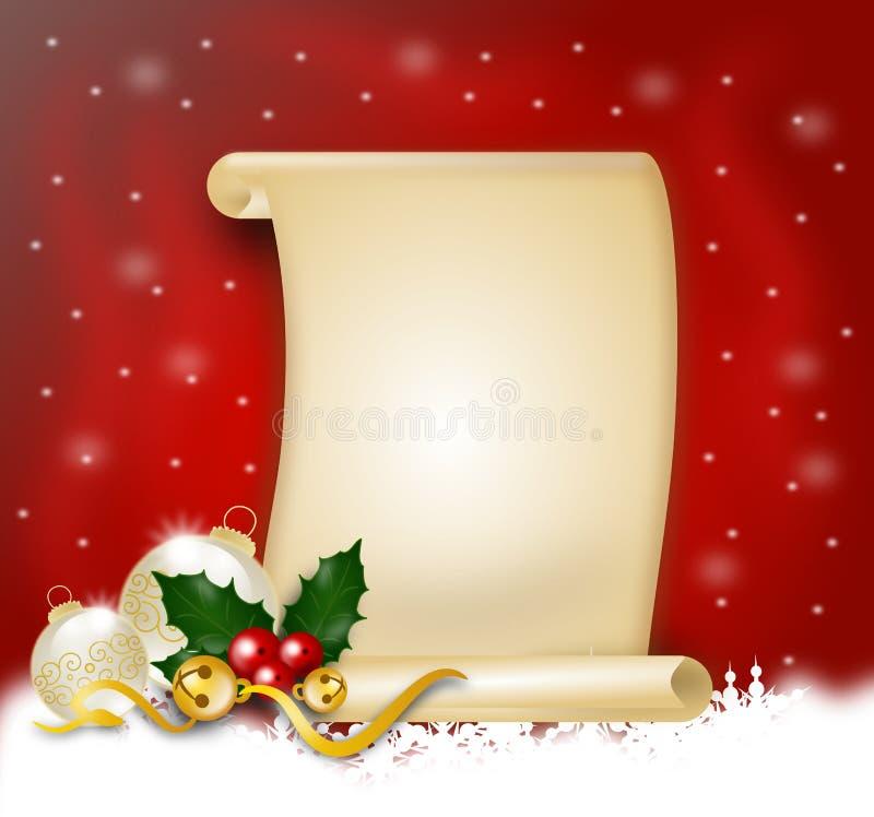 Bożenarodzeniowa lista życzeń ilustracja wektor