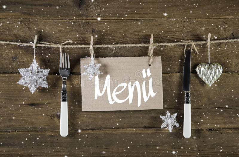 Bożenarodzeniowa menu karta dla restauracj z nożem i rozwidleniem na woode obrazy royalty free