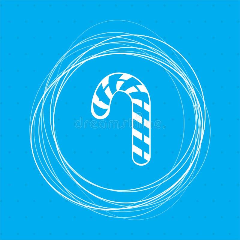 Bożenarodzeniowa miętowego cukierku trzcina z lampas ikoną na tło abstrakta błękitnych okręgach wokoło i miejsce dla twój teksta ilustracji
