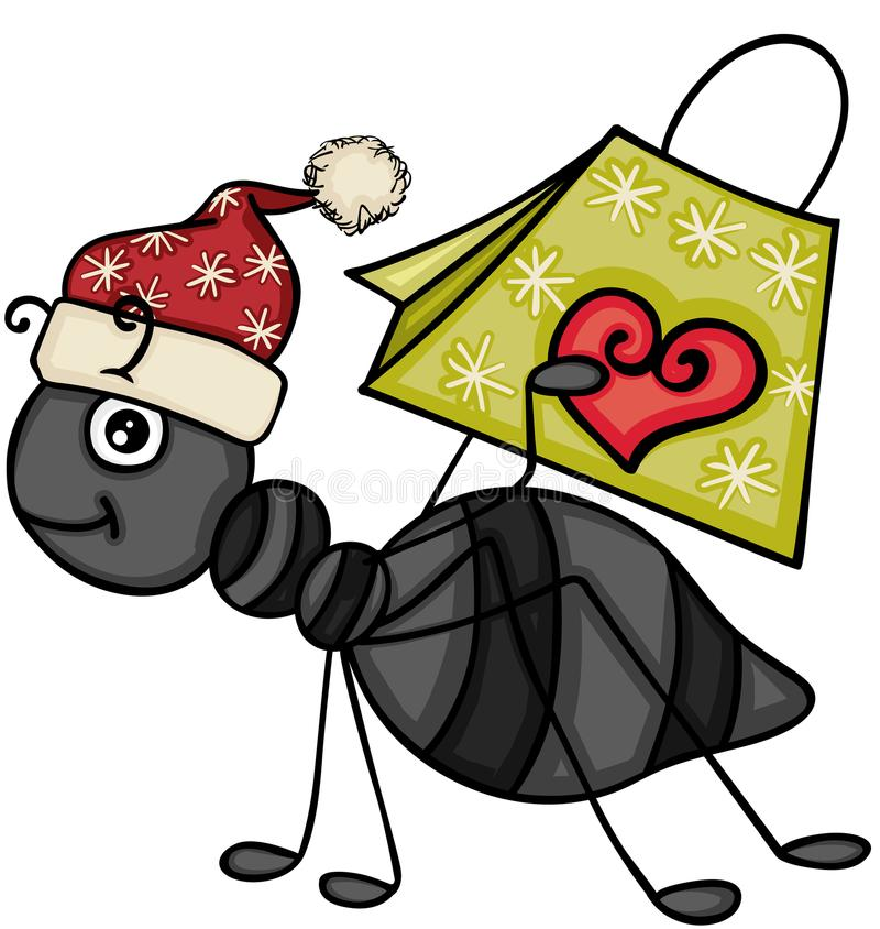 Bożenarodzeniowa mrówka niesie prezent torbę ilustracja wektor