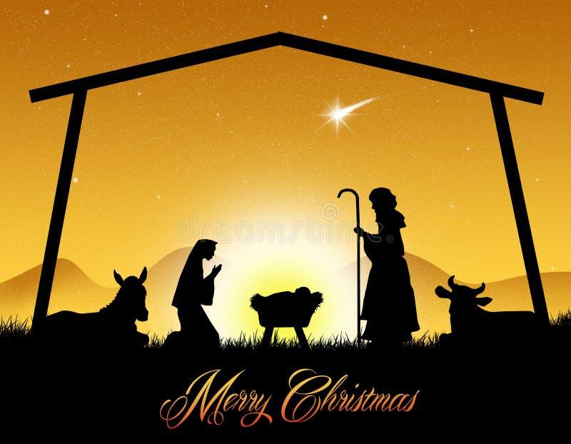 Bożenarodzeniowa narodzenie jezusa scena ilustracji