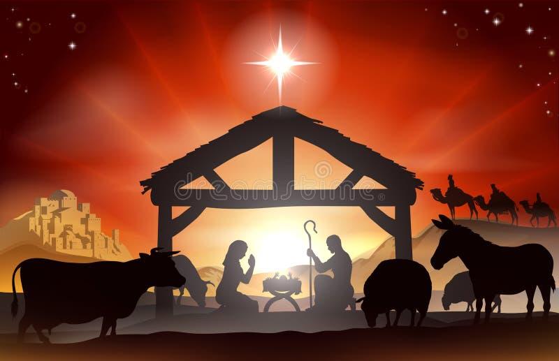 Bożenarodzeniowa narodzenie jezusa scena royalty ilustracja