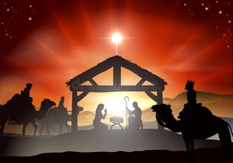 Bożenarodzeniowa narodzenie jezusa scena ilustracja wektor
