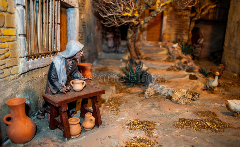Bożenarodzeniowa narodzenie jezusa scena fotografia stock