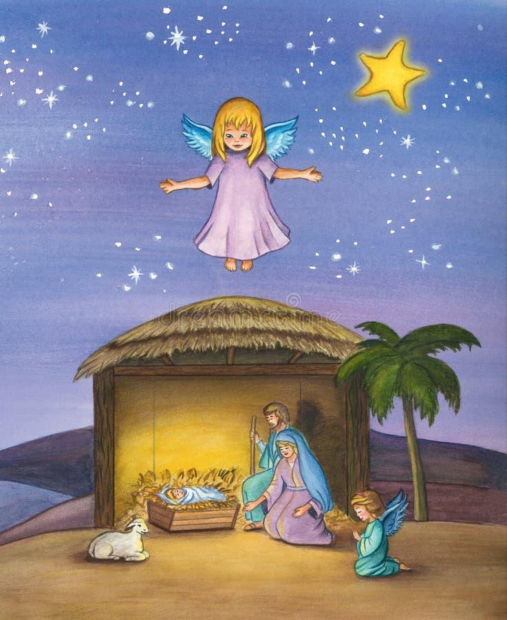Bożenarodzeniowa narodzenie jezusa scena dziecko Jezus royalty ilustracja