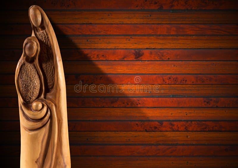 Bożenarodzeniowa narodzenie jezusa scena na drewno ścianie obraz stock