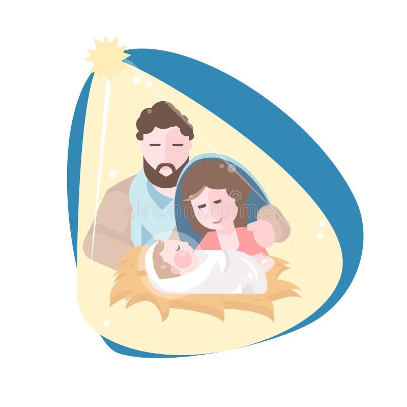 Bożenarodzeniowa narodzenie jezusa scena z dzieckiem Jezus Płaska wektorowa ilustracja royalty ilustracja