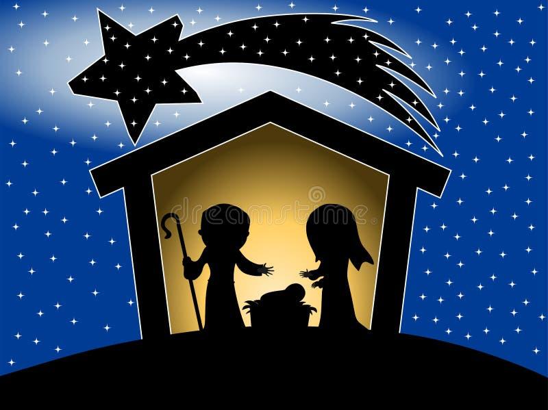 Bożenarodzeniowa narodzenie jezusa sceny sylwetka ilustracja wektor