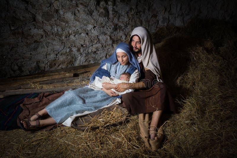 Bożenarodzeniowa narodzenie jezusa stajnia obraz royalty free