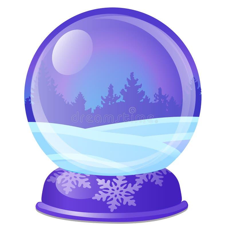 Bożenarodzeniowa pamiątka w postaci szklanej piłki z sosnowym lasem odizolowywającym na białym tle Pr?bka plakat, przyj?cie royalty ilustracja