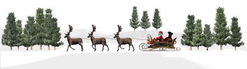Bożenarodzeniowa panorama - Święty Mikołaj sanie, rendeers, drzewa royalty ilustracja
