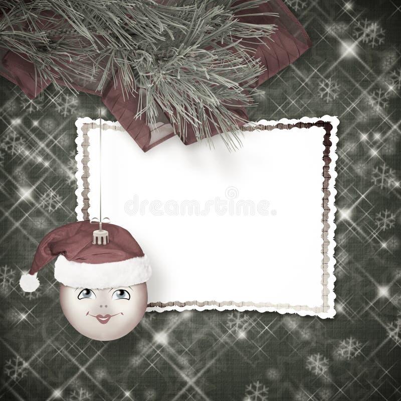 Bożenarodzeniowa piłka w kapeluszu Święty Mikołaj z sosną rozgałęzia się na t ilustracji