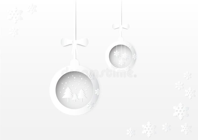 Bożenarodzeniowa piłki, płatka śniegu i drzewa papierowa sztuka, projektuje ilustracja wektor