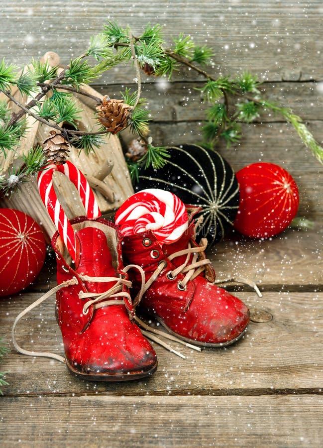 Bożenarodzeniowa pończocha. świąteczna nostalgiczna dekoracja zdjęcie stock