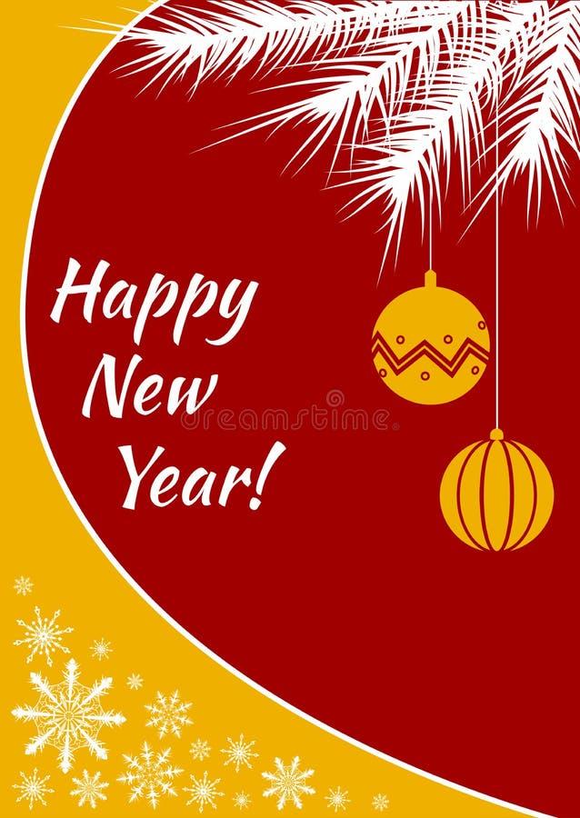 Bożenarodzeniowa pocztówka lub sztandar z kolorami, żółtym płatek śniegu i choinki gałąź żółtymi i czerwonymi piłek i białych