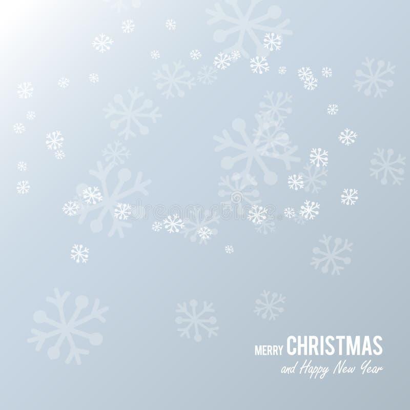 Bożenarodzeniowa pocztówka z białego papieru płatkami śniegu na bławym tle ilustracja wektor