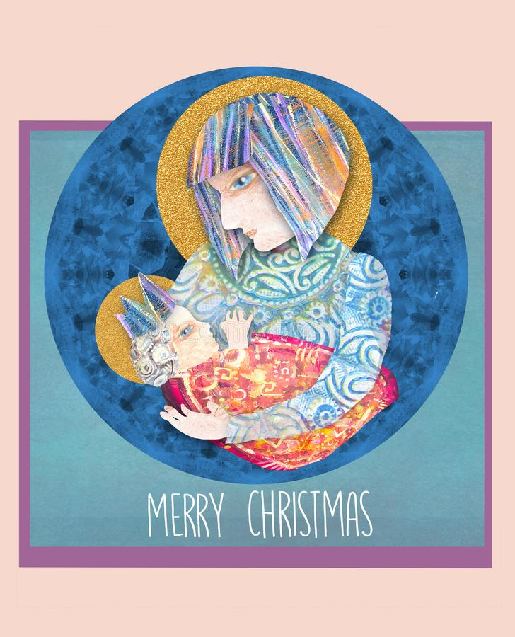Bożenarodzeniowa religijna karta z Mary Jezus i dzieckiem obraz abstrakcyjne Święty rodzinny projekt ilustracja wektor