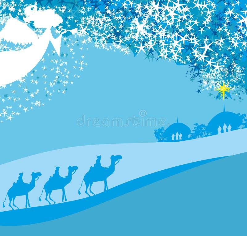 Bożenarodzeniowa religijna narodzenie jezusa scena ilustracja wektor
