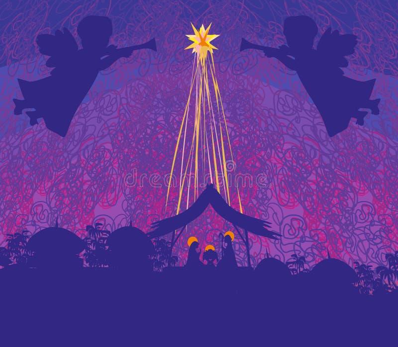 Bożenarodzeniowa religijna narodzenie jezusa scena royalty ilustracja