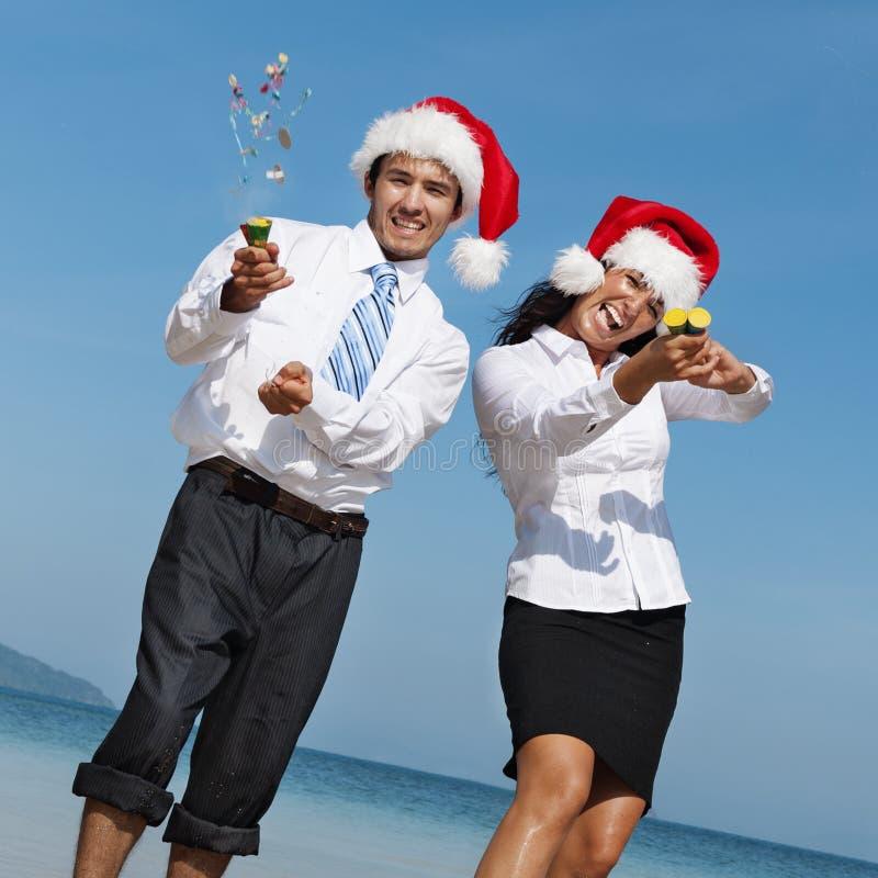 Bożenarodzeniowa Santa Kapeluszowa Biznesowa podróż Być na wakacjach pojęcie obraz royalty free