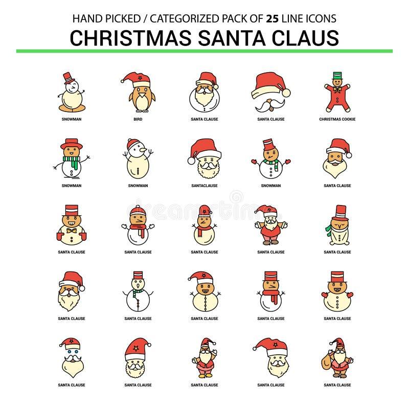 Bożenarodzeniowa Santa klauzula mieszkania linii ikona Ustawia - Biznesowego pojęcie Ico ilustracja wektor