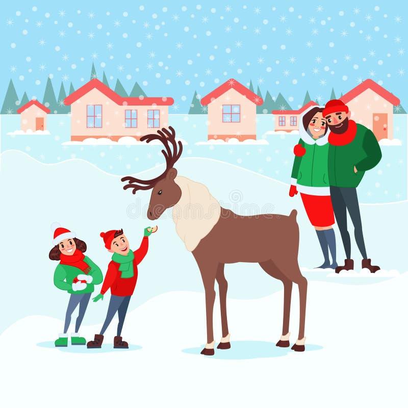 Bożenarodzeniowa scena z dzieciakami Szczęśliwa rodzina na zima wakacjach Dzieci Karmi rogacza uczcić nowy rok ilustracji