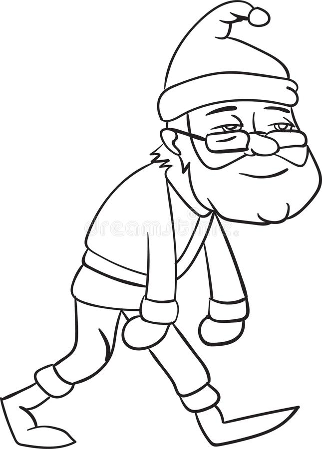 Bożenarodzeniowa smutna Santa Claus kolorystyka dla dzieci wakacyjnych ilustracji