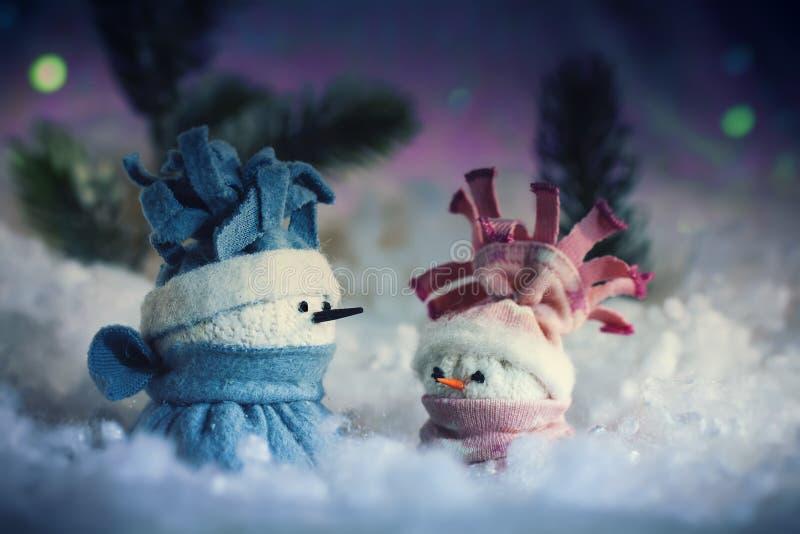 Bożenarodzeniowa Snowmens noc obraz stock