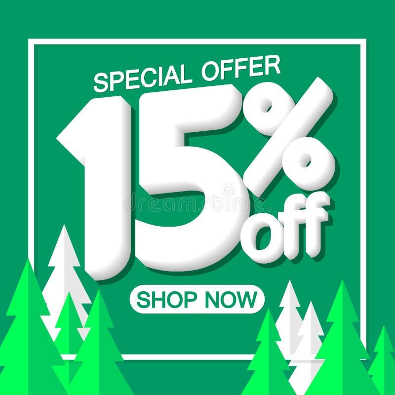 Bożenarodzeniowa sprzedaż 15% daleko, plakatowy projekta szablon, oferta specjalna, wektorowa ilustracja royalty ilustracja