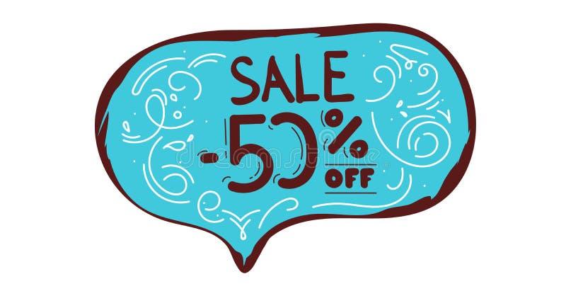 Bożenarodzeniowa sprzedaż do 50 z literowania w Modnej mowie Gulgocze Robiący zakupy Kreatywnie pojęcie - błękitnego, Biali eleme ilustracji