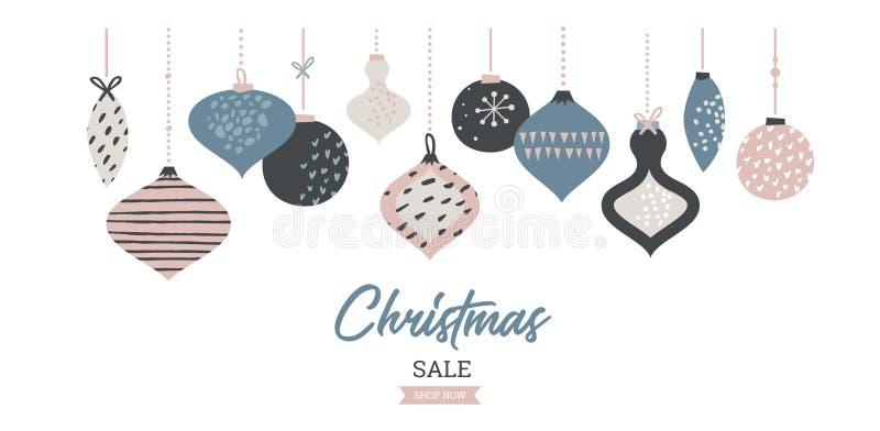 Bożenarodzeniowa sprzedaż sztandaru szablonu typografia z boże narodzenie piłkami dla sprzedaży ulotek, plakata, sieć sztandaru i ilustracja wektor