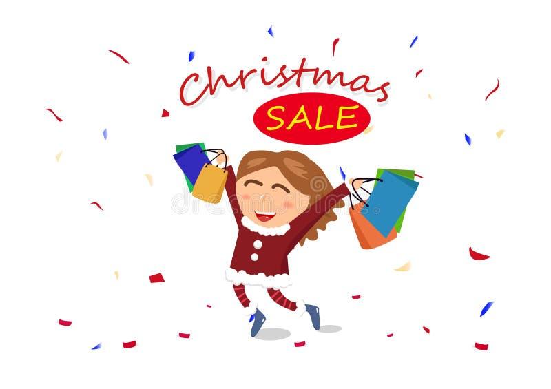 Bożenarodzeniowa sprzedaż, zakupy, końcówka sezon, kobieta, dziewczyna charakter c ilustracja wektor