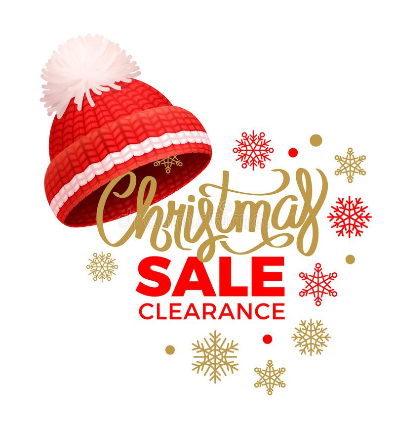 Bożenarodzeniowa sprzedaży odprawa, Trykotowy Red Hat, Pom-Pom ilustracji