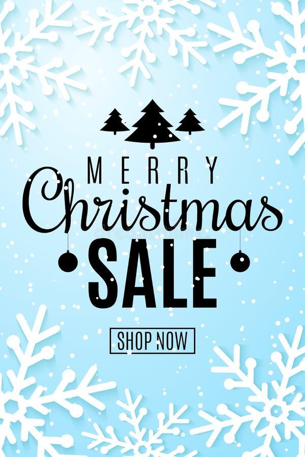 Bożenarodzeniowa sprzedaży ulotka Płatek śniegu ciący z papieru Duża super xmas sprzedaż Specjalna oferta Sezonowy sieć sztandar  royalty ilustracja
