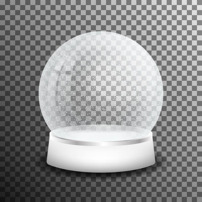 Bożenarodzeniowa szklana śnieżna piłka na przejrzystym tle Realistyczna krystaliczna śnieżna piłka z lekkim odbiciem royalty ilustracja