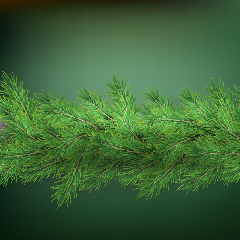 Bożenarodzeniowa wakacje granica z realistycznymi jedlinowymi gałąź dekoracjami z cieniem na zieleni, 10 eps ilustracja wektor