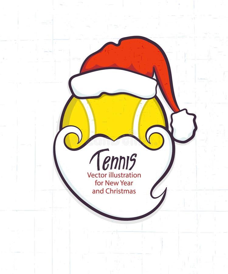 Bożenarodzeniowa wektorowa ilustracja dla tenisa Święty Mikołaj piłka na białym textural tle Element dla kartki z pozdrowieniami, royalty ilustracja
