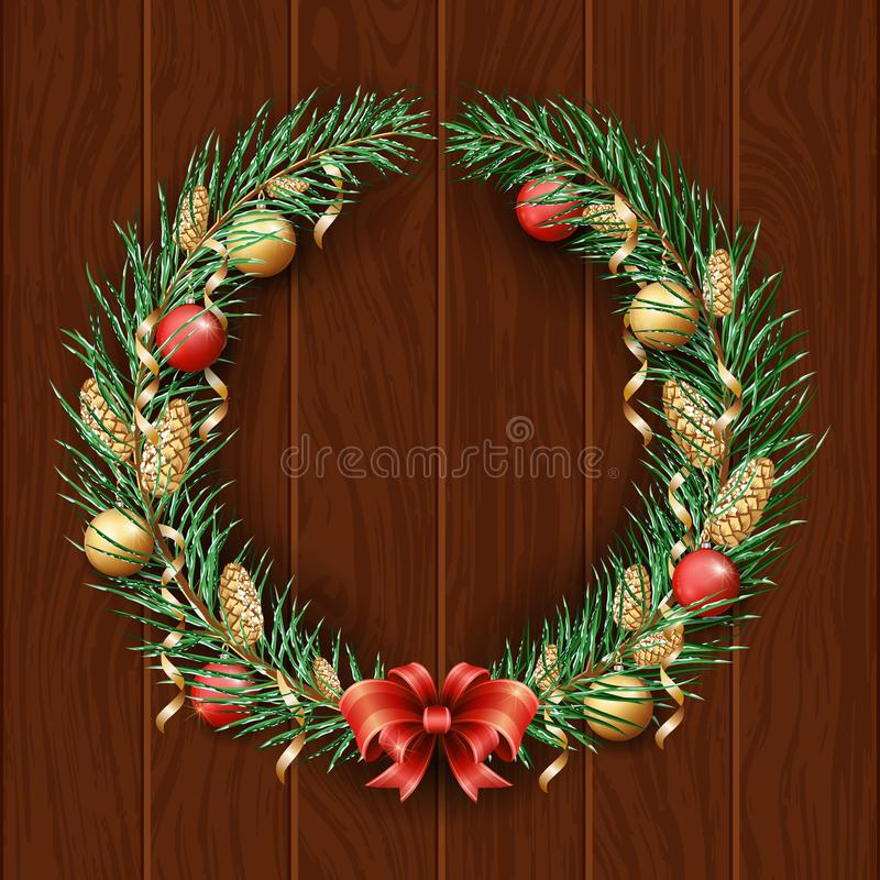 Bożenarodzeniowa wianek granica Rama zielona sosna Wesoło boże narodzenia 2019 I Szczęśliwy nowy rok Gałąź choinka w śniegu d ilustracja wektor