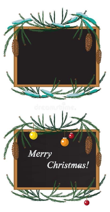 Bożenarodzeniowa wianku i czerni deska z kredą ilustracja wektor