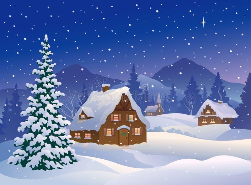 Bożenarodzeniowa wioska przy górami ilustracji