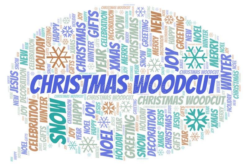 Bożenarodzeniowa Woodcut słowa chmura ilustracji